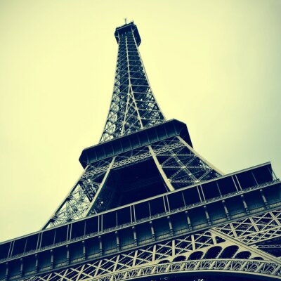 Canvas print Eiffel Tower in Paris, France with a retro effect