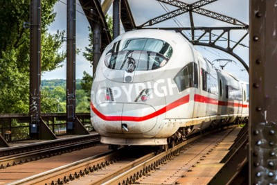 Canvas print Electric InterCity Express in Frankfurt, Germany in a summer day