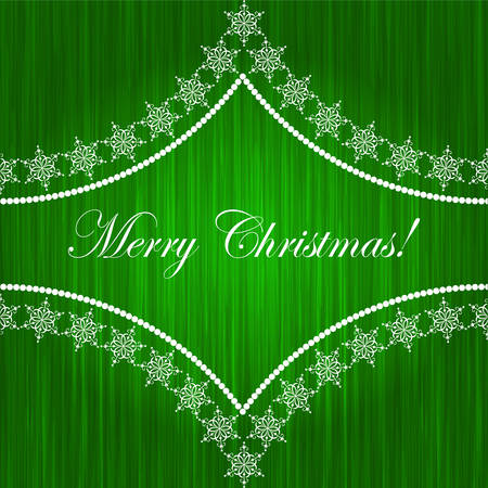 Elegant christmas card with pattern and snowflakes on green background