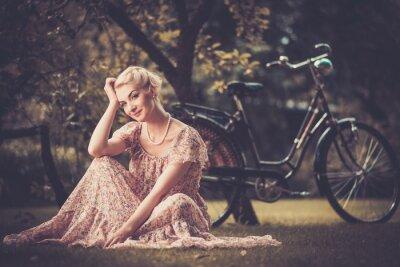 Canvas print Elegant retro woman in summer dress