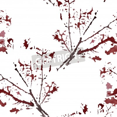 elegant seamless pattern with decorative watercolor branches, design element