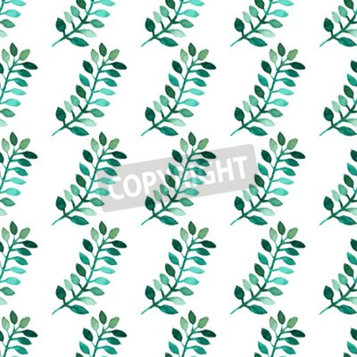 Elegant seamless pattern with watercolor painted branches with leaves, design elements