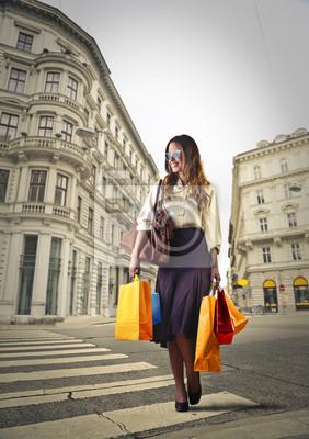 Elegant woman doing shopping