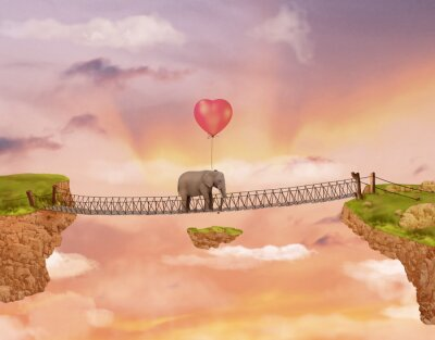 Canvas print Elephant on a bridge in the sky with balloon. Illustration