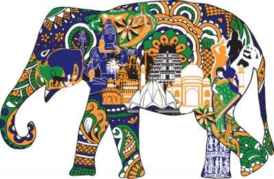 Canvas print elephant with Indian symbols