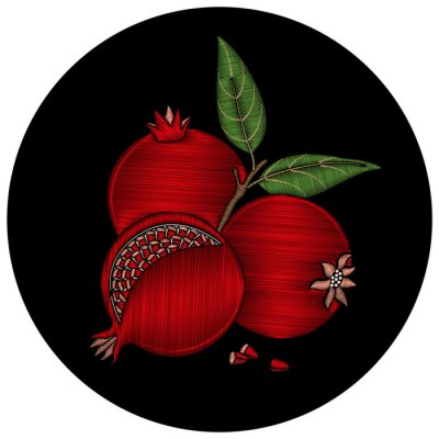 Embroidered fruits and leaves of pomegranate on a black background. Embroidery for fabrics, patches and garments. Vector