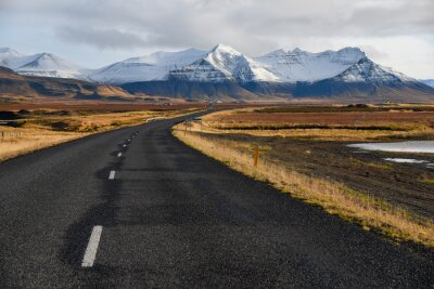 Canvas print Empty road in early winter of Iceland