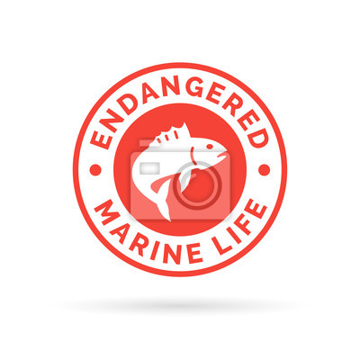 Canvas print Endangered fish icon badge. Endangered marine species sign. Over fishing symbol. White jumping fish icon on red circle background. Vector illustration.