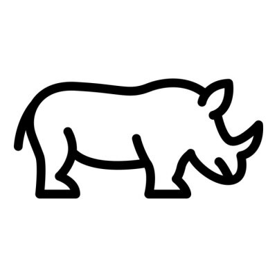 Canvas print Endangered rhino icon. Outline endangered rhino vector icon for web design isolated on white background