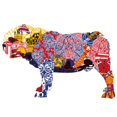 Canvas print English Bulldog in miniatures and patterns symbolizing England
