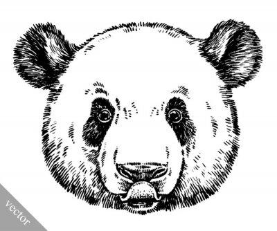 Canvas print engrave ink draw panda illustration