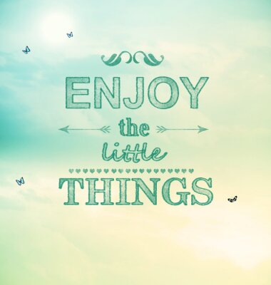 Canvas print Enjoy the little things text with small butterflies