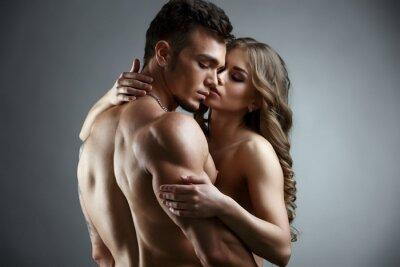 Canvas print Erotica. Embrace of attractive nude couple