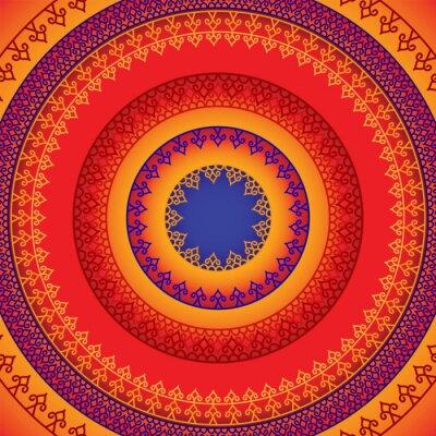 Canvas print Ethnic & Colorful Henna Mandala design, very elaborate and easily editable