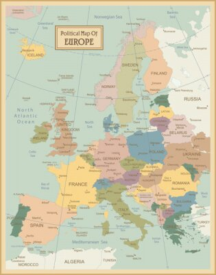 Canvas print Europa-highly detailed map.Layers used.