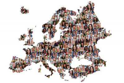 Canvas print Europa Karte Menschen junge Leute Gruppe Integration multikultur