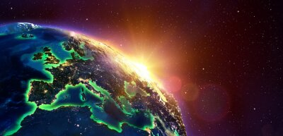 Canvas print Europe At Golden Sunrise - View From Space