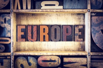Canvas print Europe Concept Letterpress Type