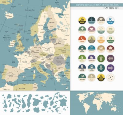 Canvas print Europe detailed map.Retro Colors