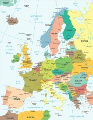 Canvas print Europe map - highly detailed vector illustration.