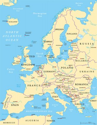 Canvas print Europe Political Map