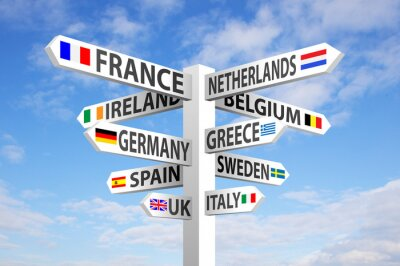 Canvas print Europe Signpost