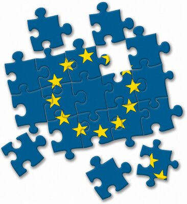 Canvas print European union EU flag puzzle on the white background