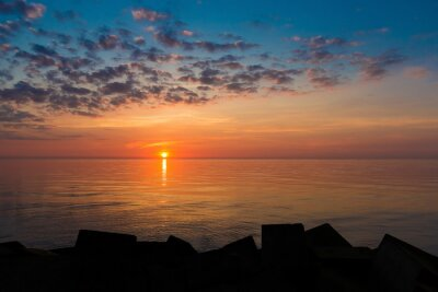 Evening landscape with cloudy sky at Baltic sea