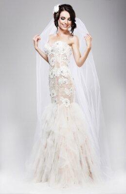 Canvas print Expectation. Beautiful Jubilant Bride in White Wedding Dress