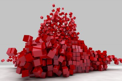 Canvas print Explosion of field of red cubes. 3D render image.