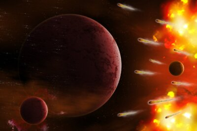 Canvas print Explosion of space/Explosion of space with comet attack planet. Digital retouch.
