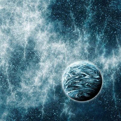 Canvas print Extrasolar Planet in a Warped Space Time Region