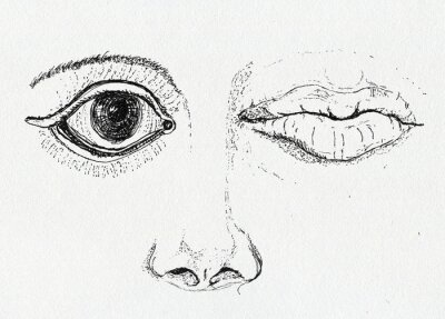 Canvas print Face, art metaphor, pen and ink drawing on paper texture