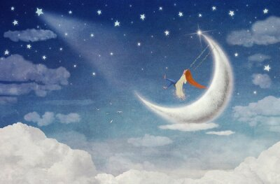 Canvas print Fairy  riding  on a swing on the moon in the sky