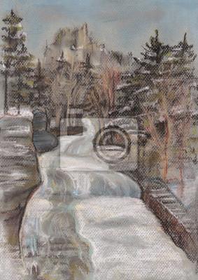 Canvas print Falls during a winter season