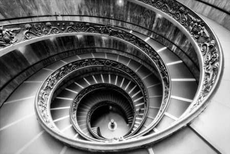 Famous spiral staircase in Vatican museums in monochrome processed look