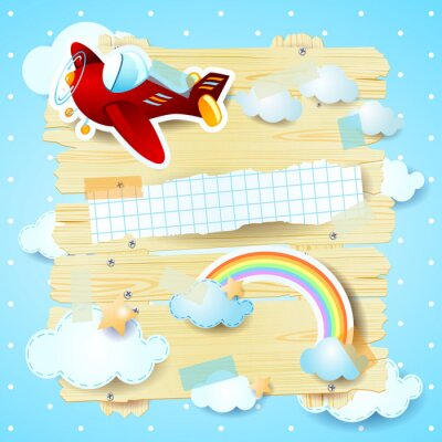 Canvas print Fantasy background with airplane
