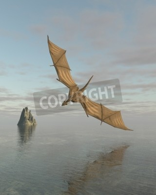 Canvas print Fantasy illustration of a dragon flying low over a calm ocean in daylight, 3d digitally rendered illustration