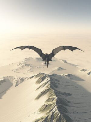 Canvas print Fantasy illustration of a grey dragon flying over a snow covered mountain range, 3d digitally rendered illustration