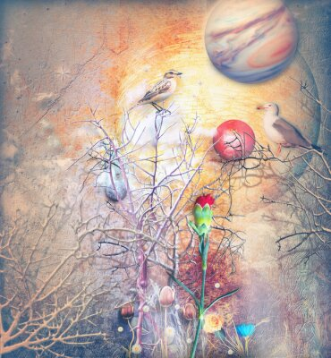 Canvas print Fantasy landscape with bewitched tree,birds and red carnation