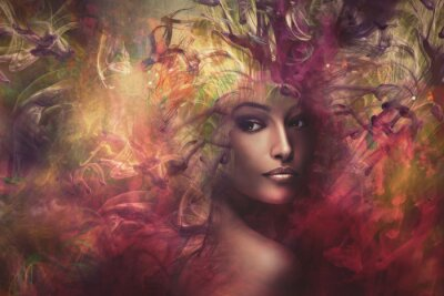 Canvas print fantasy woman composite