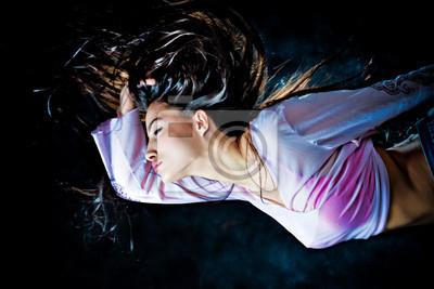 fantasy woman flying through the night
