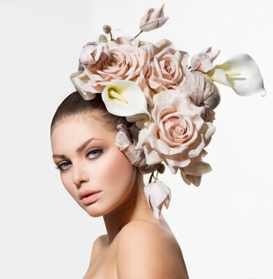 Canvas print Fashion Beauty Girl with Flowers Hair. Bride. Creative Hairstyle