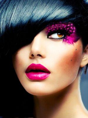 Canvas print Fashion Brunette Model Portrait. Hairstyle