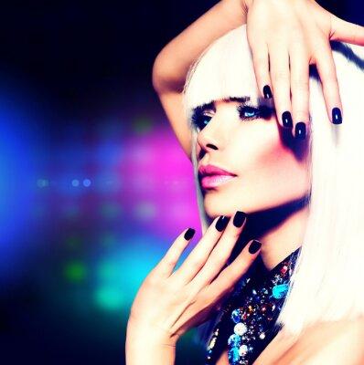 Canvas print Fashion Disco Party Girl Portrait. Purple Makeup and White Hair