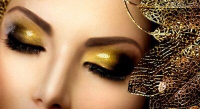 Canvas print Fashion Glamour Makeup. Holiday Gold Glittering Eyeshadows