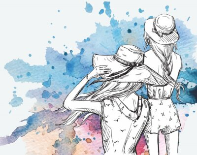 Canvas print fashion illustration. Girls in hats on a watercolor background.