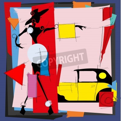 Canvas print Fashion illustration in the style of cubism