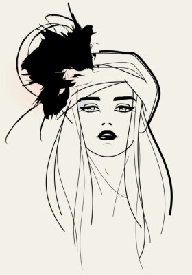 Canvas print Fashion model face / elegant look