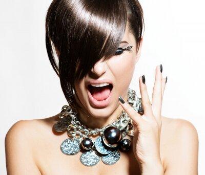 Canvas print Fashion Model Girl Portrait. Emotions. Trendy Hair Style